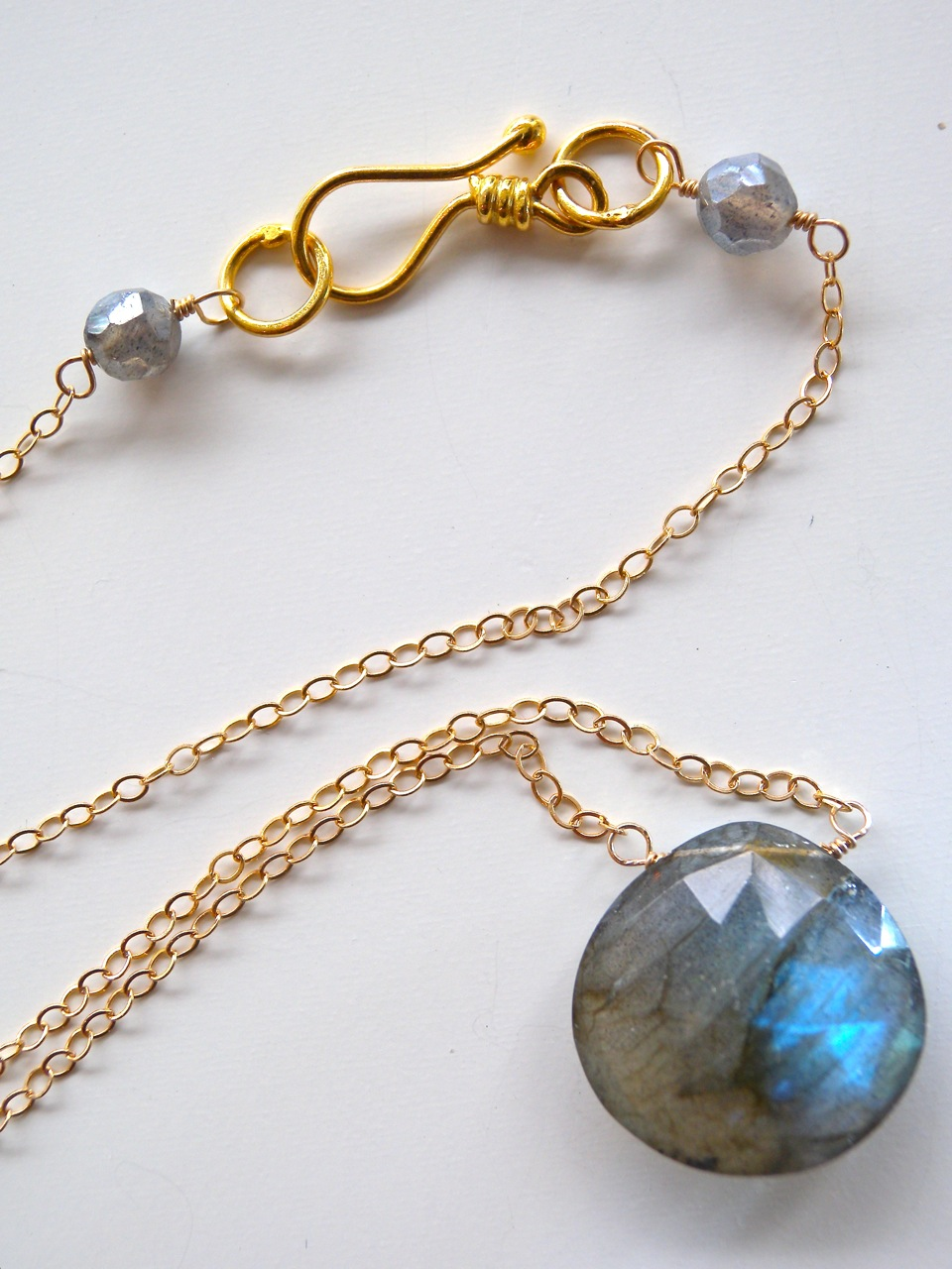 Rose cut labradorite briolette necklace. Image credit: Tartooful